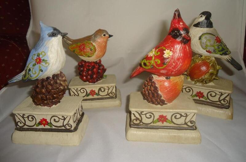 "Bird on Pedestal w Nut Robin Chickadee Cardinal Blue Jay Resin 4 Pc Set 7"""