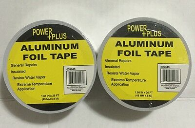 2 Pc Aluminum Foil Tape Heat Shield Tape 1.88x 26 Ft48mmx8m