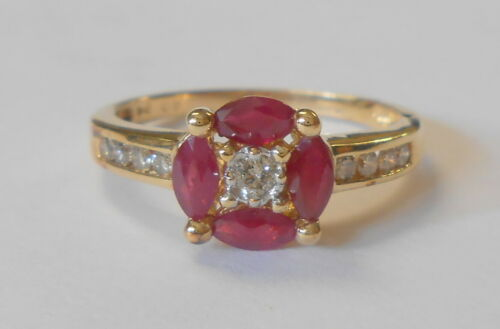 Beautiful Estate Marquise Ruby & Round Diamond 14K Yellow Gold Ring Size 8.5