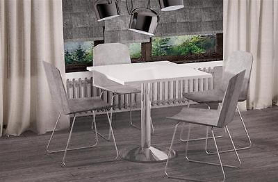 Esstisch Weiss Hochglanz quadratisch 80x80 Chrom Küchentisch Bistrotisch 80x80cm - Quadratisch Esstisch