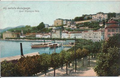 AK, Grafik, Lugano - Quai Vincenzo Vela, 1911; 5026-106