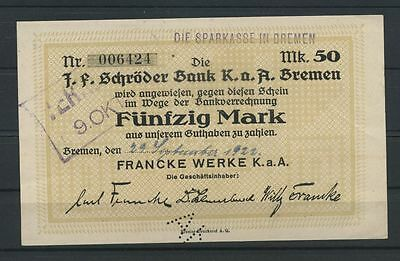 """Bremen   -   Francke Werke K.a.A. - 50 Mark - Stpl. """" Die Sparkasse in Bremen"""""""