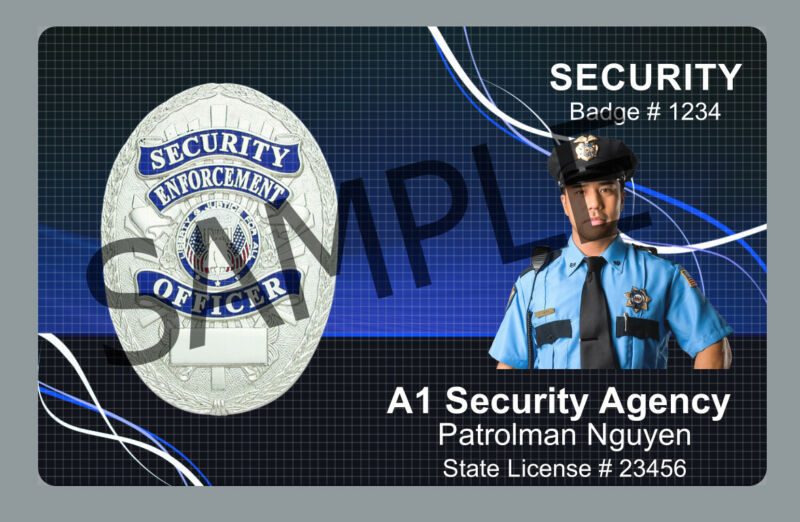 Security Officer ID PVC Security Guard ID Card Customized