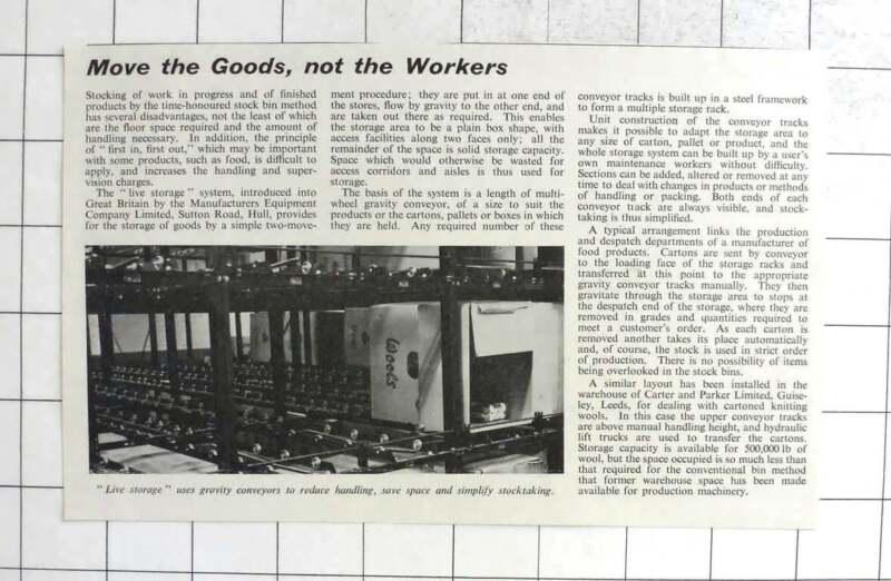 1960 Live Storage Gravity Conveyance Manufacturers Equipment Co Ltd Hull