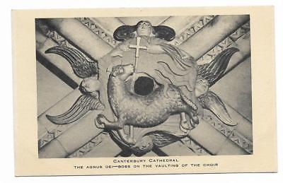 Tuck's Postcard. Canterbury Cathedral. Agnus Dei - Boss on Vaulting of the Choir