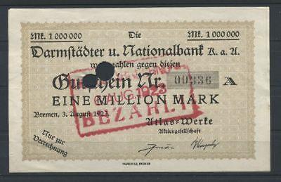 Bremen  -  Atlas-Werke  -  1 Mio. Mark  -  Entwertungsstempel           (RO-34)
