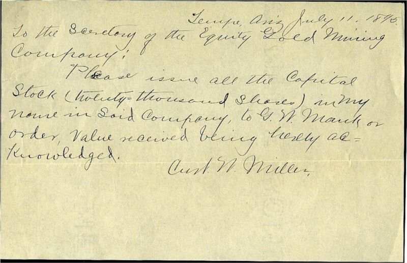 ARIZONA TERRITORY – TEMPE – LETTER TO GOLD MINING CO BY CURT MILLER -1890