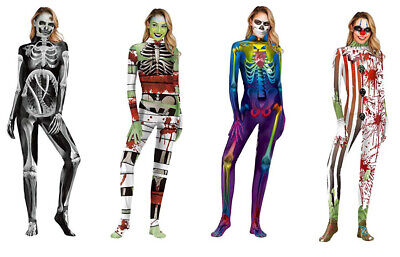 Skeleton Hands And Feet (Womens Skeleton Halloween Costume 3D Printed Jumpsuit with Hands and)