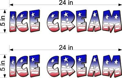 Pair Of 5 X 24 Vinyl Decals Ice Cream Red White Blue Flag Style Truck Cart