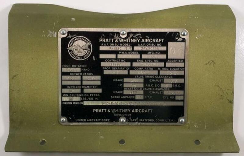 Original WWII Era Pratt & Whitney R-1830 86 Data Plate, Mounted DPL-0123