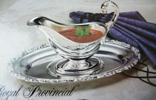 New Oneida GRAVY BOAT and TRAY Silverplate Royal Provincial