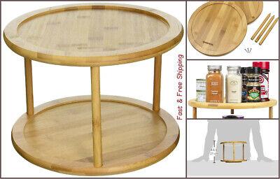 Lazy Susan 2 Tier Bamboo Shelf Turntable Spice Storage Rack Kitchen -