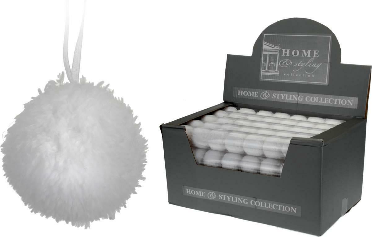 10x Weihnachtskugeln mit Fell weiß beflock -t Plüsch Christbaumkugeln 5 cm