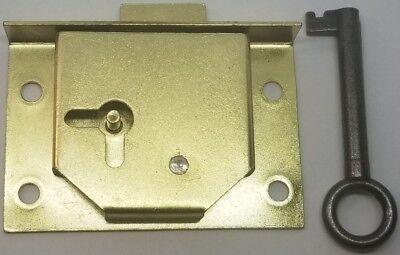 Half Mortise Chest Lid Lock Key trunk cabinet desk drawer antique vintage old
