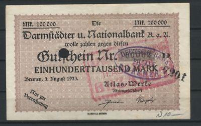 Bremen  -  Atlas-Werke  -  100 Tsd. Mark  -  Stpl. Deutsche Bank         (RO-26)