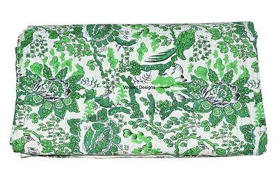 Indian Twin Kantha Quilt Bird Print Designer Cotton Bedspread Ethnic Vintage