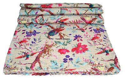 INDIAN HANDMADE KANTHA QUILT TWIN BIRD PRINT KANTHA BEDSPREAD BED COVER RALLIES