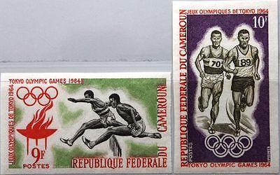CAMEROUN KAMERUN 1964 410-11 U 403-04 IMPERF Olympics Tokyo Hurdling Running MNH