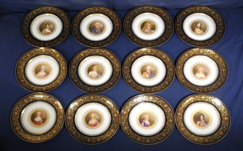 """12 Sevres Porcelain China Plates 10"""" Signed Debrie Chateau de Versailles Cobalt"""