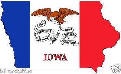 State Flag Bumper Sticker - IOWA SILHOUETTE STATE USA MAP FLAG BUMPER TOOL BOX STICKER LAPTOP STICKER