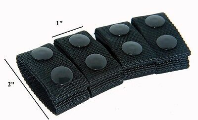 GG4 @ 4 X ARMY POLICE BLACK NYLON  DUTY BELT KEEPERS SNAPS FIT BELTS 2 INCH #