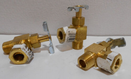 """Lot of 3  Brass Angle Compression Needle Valves 1/4"""" NPT X 3/8"""" Compression"""