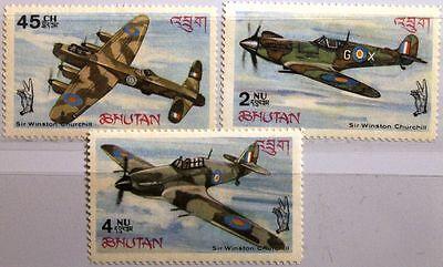 BHUTAN 1967 152-54 A 88-88B Battle over Britain WWII WKII Airplane Flugzeuge MNH