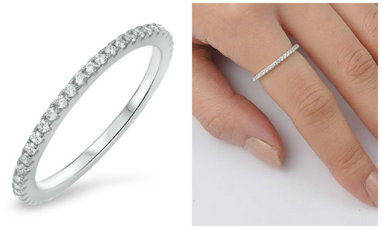 sterling silver 925 stackable eternity clear cubic