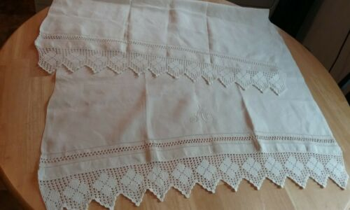 Antique Wide Linen Table Runner Monogram A Hand Crochet Ends