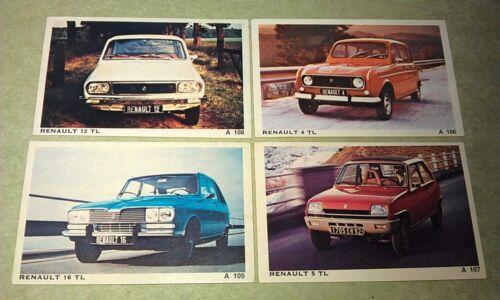 1977 RENAULT 4TL 5TL 12TL 16TL  - Dandy Gum Denmark Swap Cards x 4