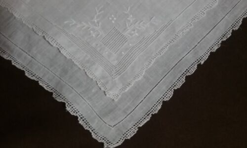 Antique SWISS APPENZELL Wedding Handkerchief Embroidered