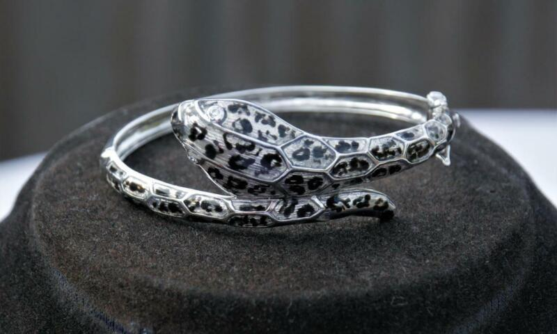 EXCEPTIONAL Stunning SOLID Silver Victorian style ENAMELLED Serpent SNAKE Bangle