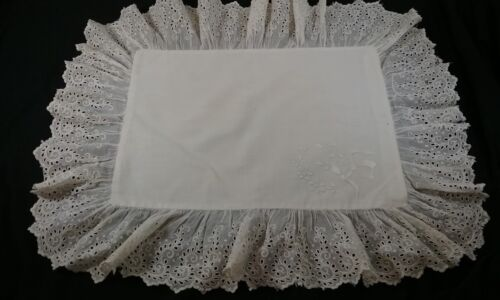 Antique Victorian Boudoir Pillowcase Frilly Eyelet Lace Edge and Embroidery