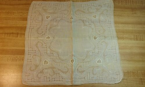 Antique SWISS APPENZELL Wedding Handkerchief Embroidered Ecru