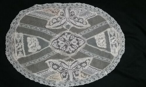 "Antique Normandy French Mixed Lace Centerpiece 11""x 15.25"""