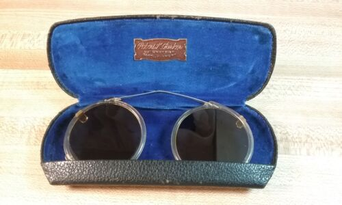 Antique SteamPunk Style Clip on Goggle Sunglasses with Original Hard Case
