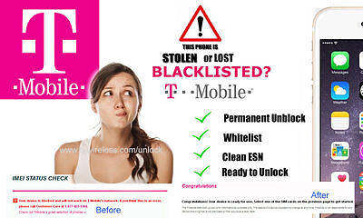 IPHONE 7/6S+/6S/6+/6/5S/5C BLACKLIST-BAD IMEI CLEANING/REPAIR SERVICE (T-MOBILE)