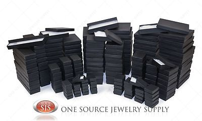 Black Matte Kraft Cotton Filled Gift Boxes Jewelry  Box Lots of 12~25~50~100 100 Kraft Cotton Filled Jewelry