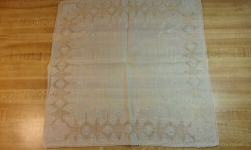 Antique SWISS APPENZELL Wedding Handkerchief Embroidered White