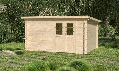 34mm Gartenhaus Westen ca 400x300 cm Blockhaus Gerätehaus Schuppen Holzhaus Holz