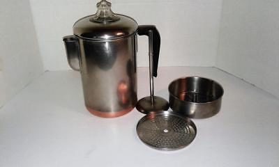 VINTAGE  Revere Ware Copper Bottom STOVE TOP  PERCOLATOR COFFEE 8-CUP