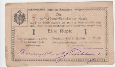 Deutsch Ostafrika 1 Rupie 1916 Seriennummer 21471 handschriftlich verbessert