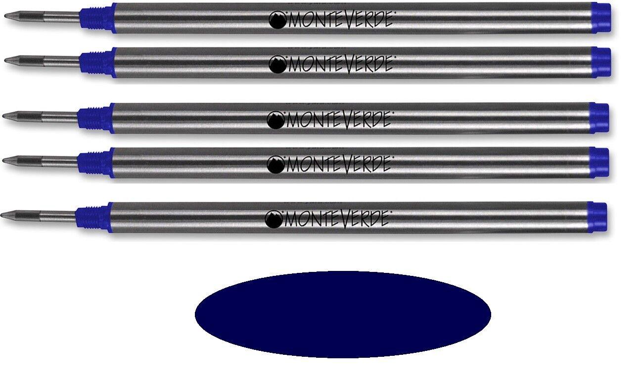 5 Monteverde Rollerball Refills For Montblanc Pens, DARK BLUE Medium, M23 Collectibles
