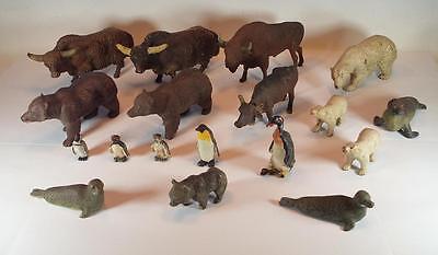 Elastolin / Lineol Masse Figuren Afrika Arktis Bison Bären Robben Pinguine #080