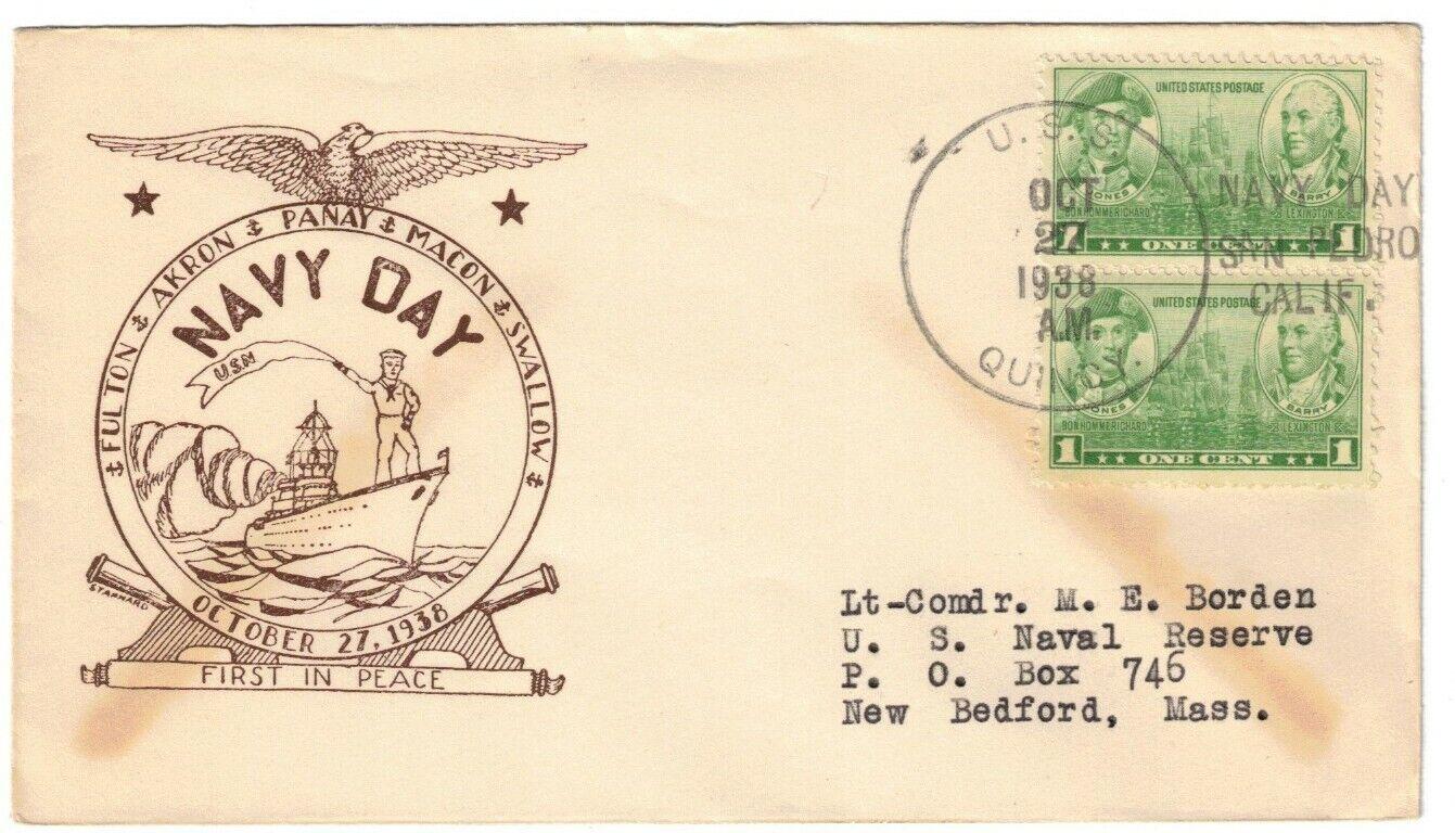 USS QUINCY CA-39, OCT 27, 1938, NAVY DAY / SAN PEDRO / CALIF. T-3a 1938 CANCEL - $2.00