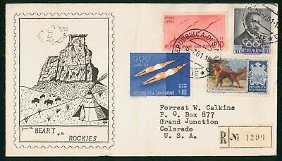 MayfairStamps San Marino 1961 Registered to Grand Junction Colorado Cover wwo495