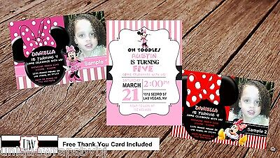 Minnie Mouse Birthday Party Invitation Printable Photo Club House DIY Pink - Minnie Mouse Photo Invitations