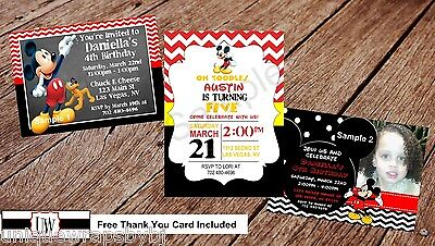 Mickey Mouse Clubhouse Birthday Party Invitation Printable Photo Invitations - Photo Mickey Mouse Invitations