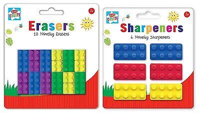Niños Crea - 18 NOVEDAD LEGO Goma Borradores + 6 ladrillo Estilo