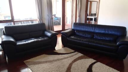 2 Black Soft Leather Sofas Shoalwater Rockingham Area Preview